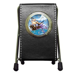 Pirate Ship Attacked By Giant Squid Cartoon  Stationery Holder Clock